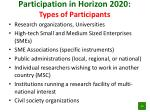 participation in horizon 2020 types of participants
