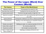 the power of the logos word over cosmos world