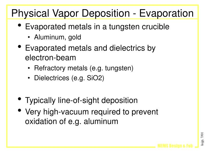Physical Vapor Deposition - Evaporation
