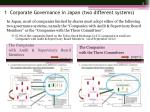 1 corporate governance in japan two different systems