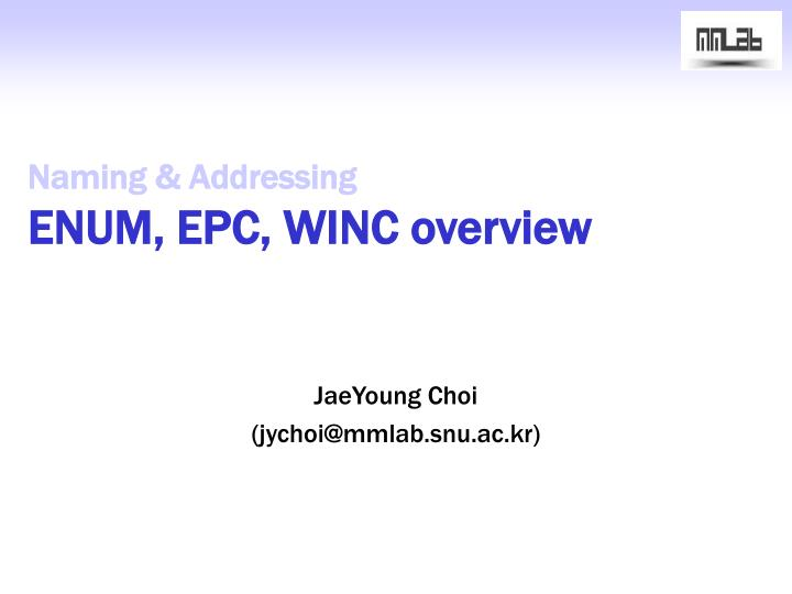 naming addressing enum epc winc overview n.
