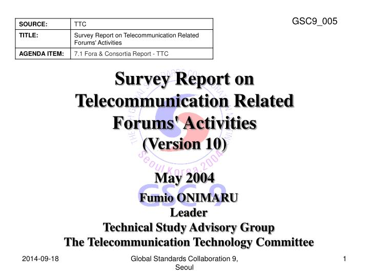survey report on telecommunication related forums activities version 10 n.