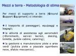 mezzi a terra metodologia di stima