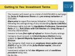 getting to yes investment terms