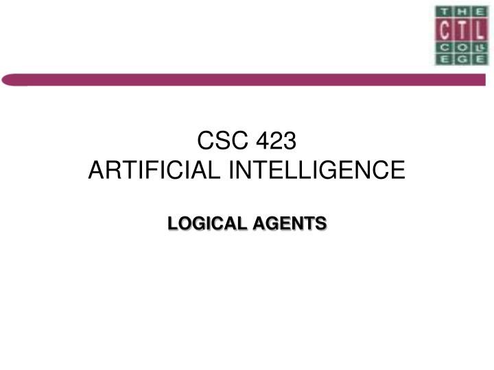 csc 423 artificial intelligence n.
