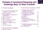 example of automated reasoning with knowledge base is west criminal