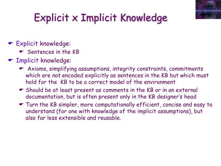 Explicit x Implicit Knowledge