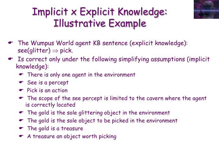 Implicit x Explicit Knowledge: Illustrative Example