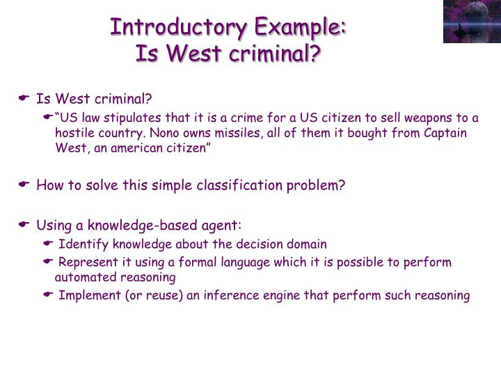 Introductory example is west criminal