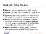 start with prior studies