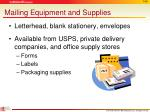 mailing equipment and supplies