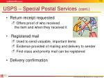 usps special postal services cont