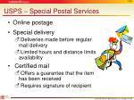 usps special postal services