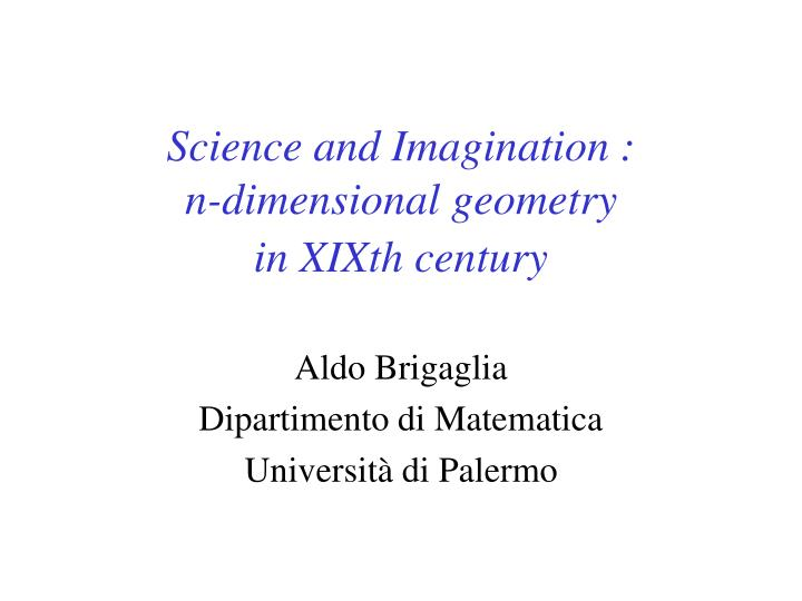 science and imagination n dimensional geometry in xixth century n.