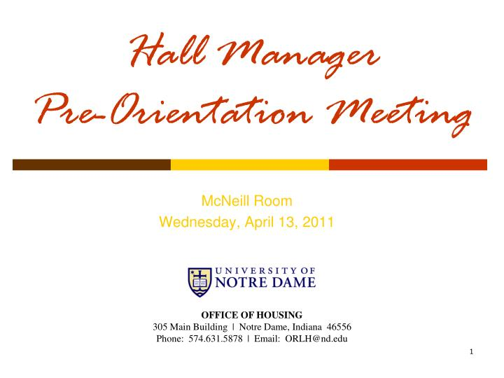 hall manager pre orientation meeting n.
