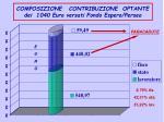 composizione contribuzione optante dei 1040 euro versati fondo espero perseo