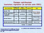 esempio contribuzione lavoratore optante in servizio ante 2001
