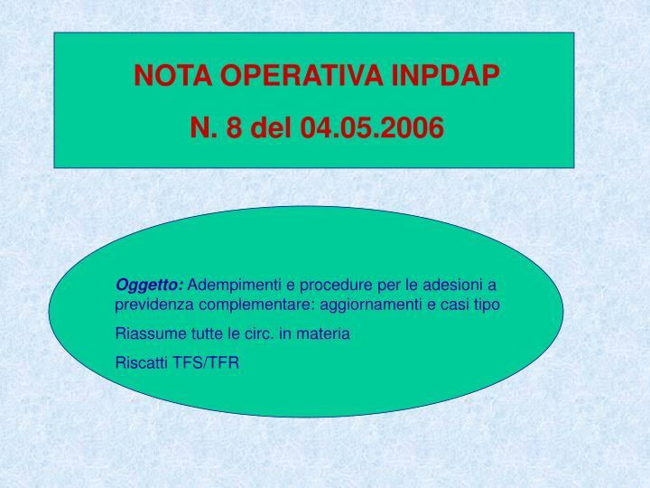 NOTA OPERATIVA INPDAP