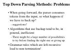 top down parsing methods problems