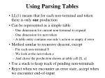 using parsing tables