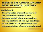 issue 5 eye condition and developmental history