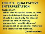 issue 9 qualitative interpretation