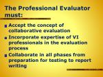the professional evaluator must