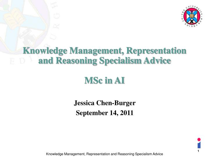 knowledge management representation and reasoning specialism advice msc in ai n.