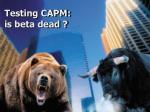 testing capm is beta dead