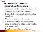 recommendations conservation development