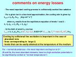 comments on energy losses