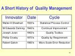 a short history of quality management