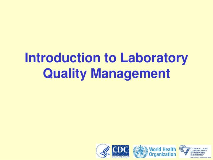 introduction to laboratory quality management n.