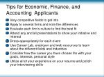 tips for economic finance and accounting applicants