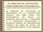 el derecho de asociaci n como derecho fundamental