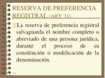 reserva de preferencia registral art 31