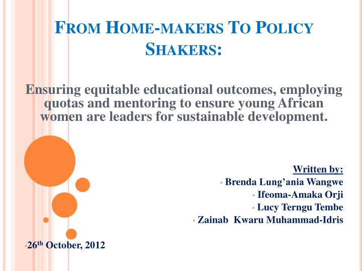 from home makers to policy shakers n.