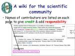 a wiki for the scientific community