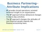 business partnering attribute implications
