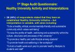 1 st stage audit questionnaire healthy university activity and interpretations