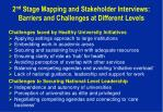 2 nd stage mapping and stakeholder interviews barriers and challenges at different levels