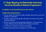 2 nd stage mapping and stakeholder interviews perceived benefits of national programme 2