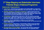 2 nd stage mapping and stakeholder interviews potential shape of national programme1