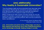 and additionally why healthy sustainable universities