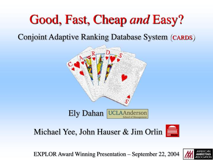 conjoint adaptive ranking database system cards n.