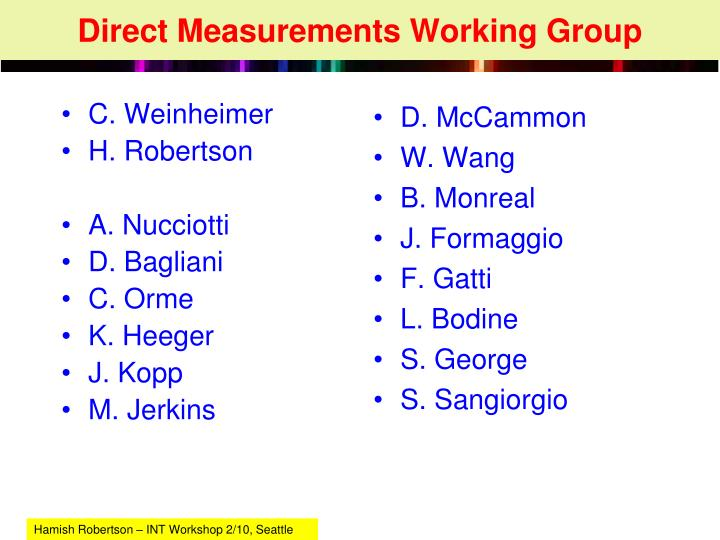 direct measurements working group n.