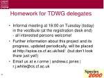 homework for tdwg delegates