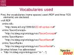 vocabularies used