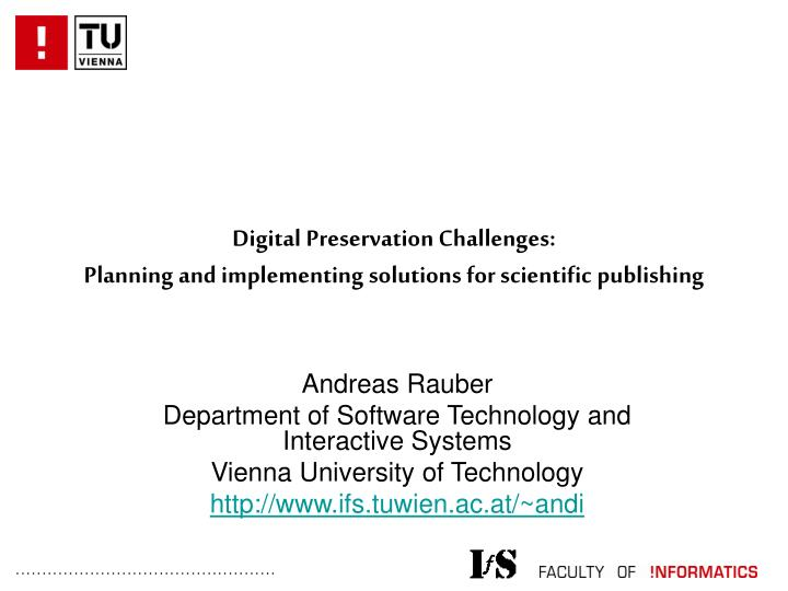 digital preservation challenges planning and implementing solutions for scientific publishing n.