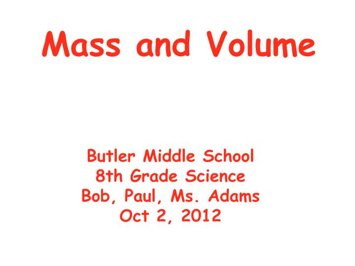 mass and volume n.